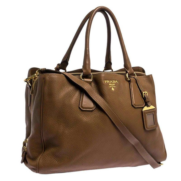 Women's Prada Brown Soft Leather Zipped Tote For Sale