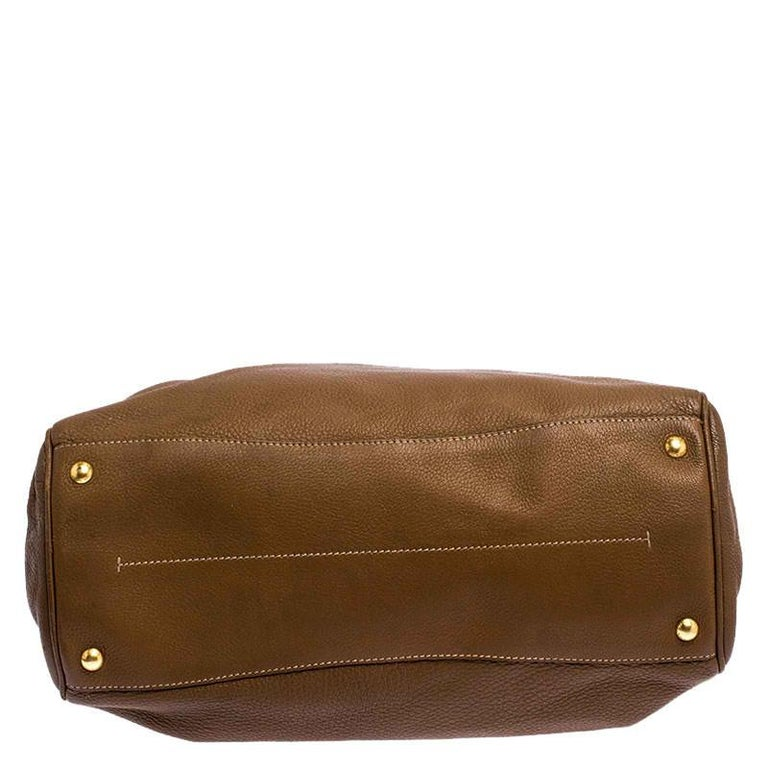 Prada Brown Soft Leather Zipped Tote For Sale 1