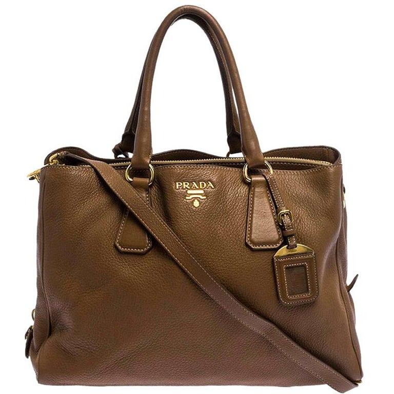 Prada Brown Soft Leather Zipped Tote For Sale