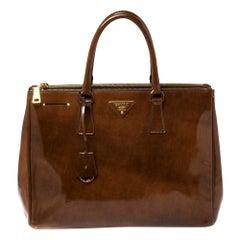 Prada Brown Spazzolato Patent Leather Large Galleria Tote
