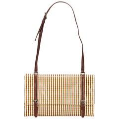 Prada Brown Striped Leather Shoulder Bag
