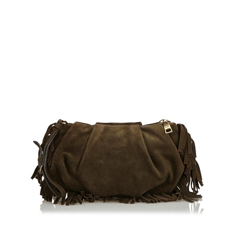 Black Prada Brown Suede Clutch Bag For Sale