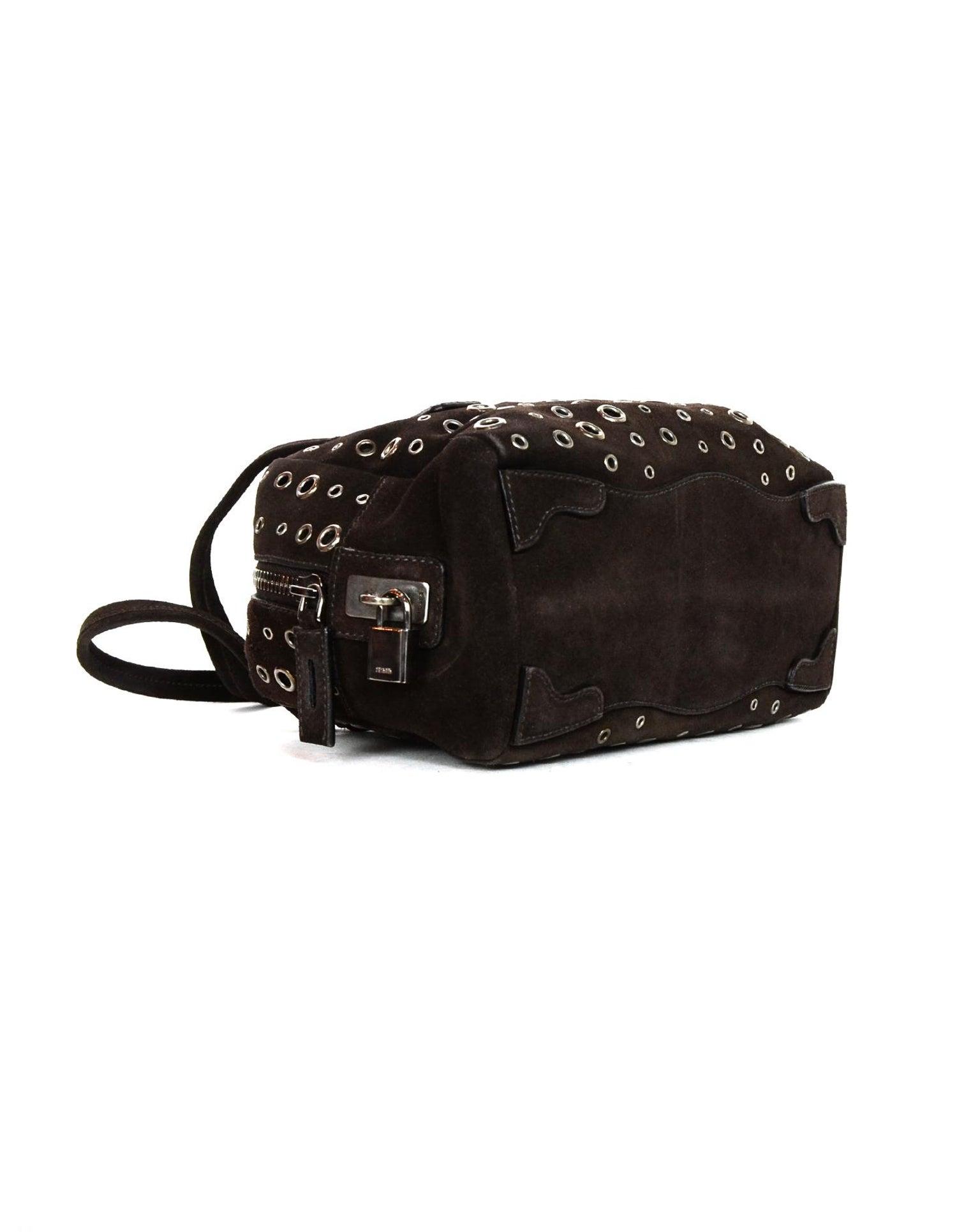 68230c5df452 Prada Brown Suede Grommet Zip Top Handle Bag For Sale at 1stdibs