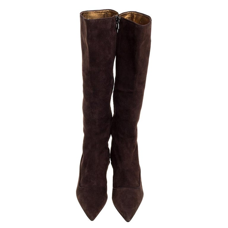 Black Prada Brown Suede Knee Boots Size 38 For Sale