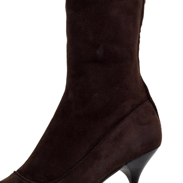 Women's or Men's Prada Brown Suede Knee Boots Size 38 For Sale