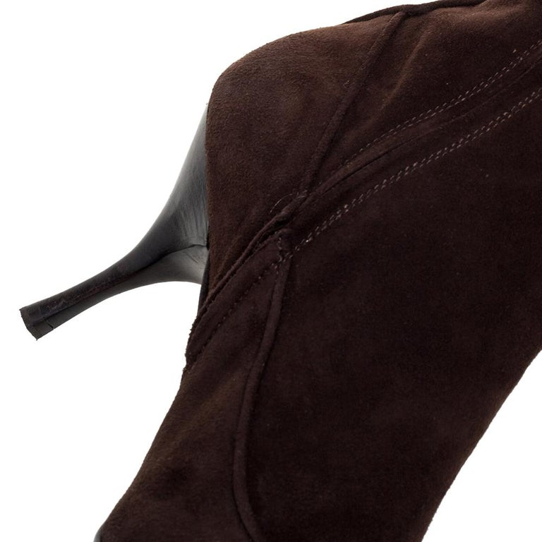 Prada Brown Suede Knee Boots Size 38 For Sale 1