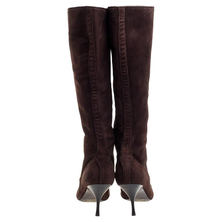 Prada Brown Suede Knee Boots Size 38 For Sale 3