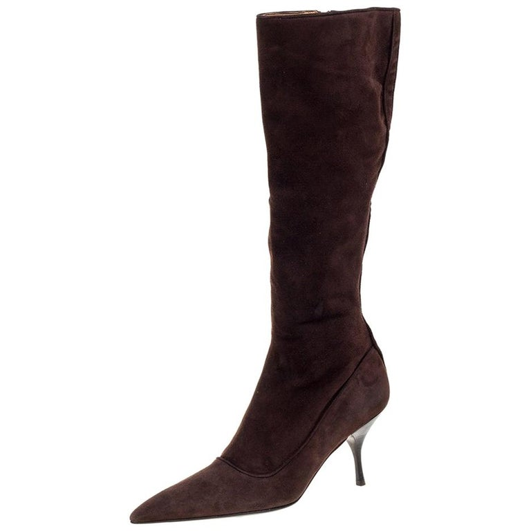 Prada Brown Suede Knee Boots Size 38 For Sale