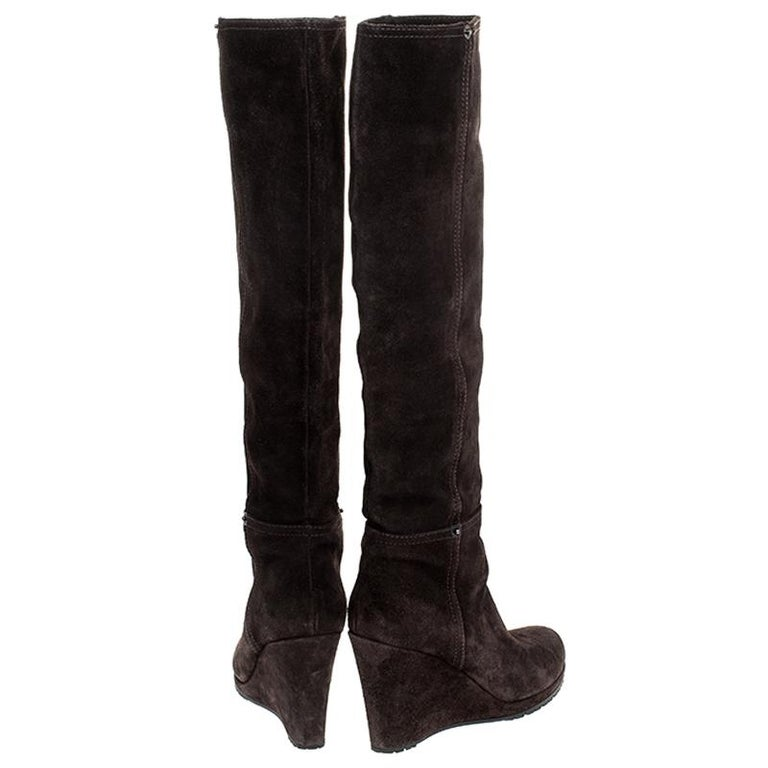 Black Prada Brown Suede Knee Length Wedge Boots Size 37.5 For Sale