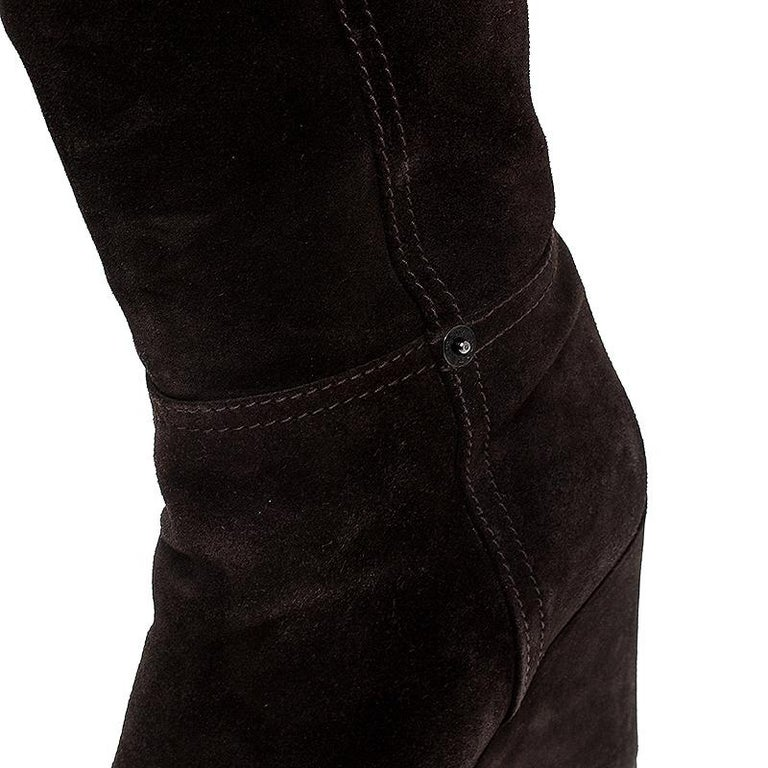 Women's Prada Brown Suede Knee Length Wedge Boots Size 37.5 For Sale