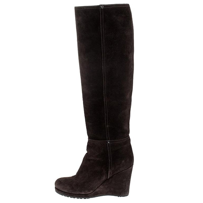 Prada Brown Suede Knee Length Wedge Boots Size 37.5 For Sale 1