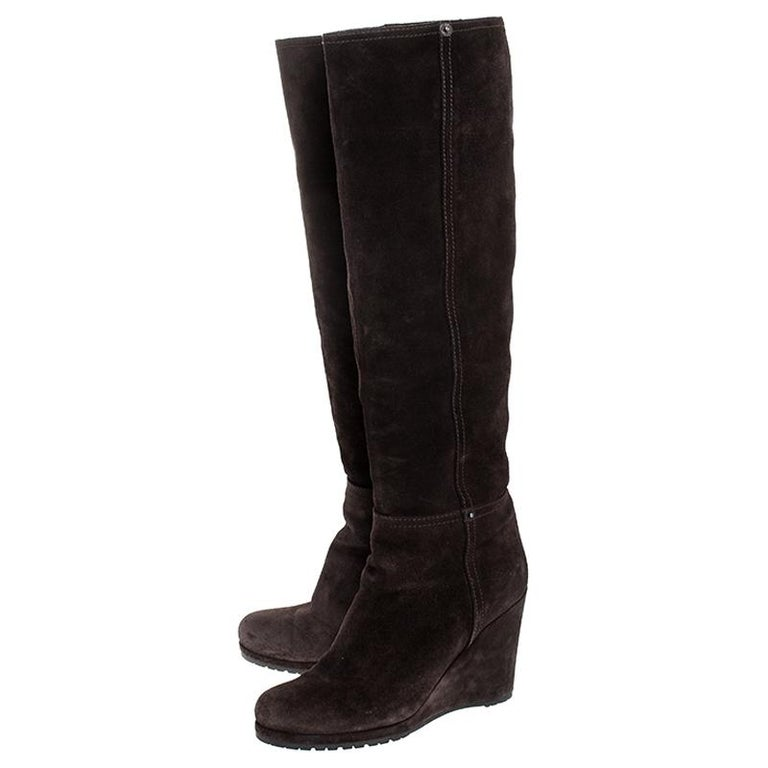 Prada Brown Suede Knee Length Wedge Boots Size 37.5 For Sale 2
