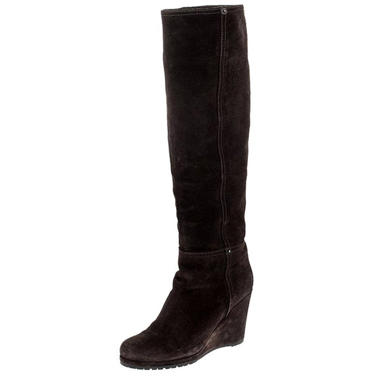 Prada Brown Suede Knee Length Wedge Boots Size 37.5 For Sale