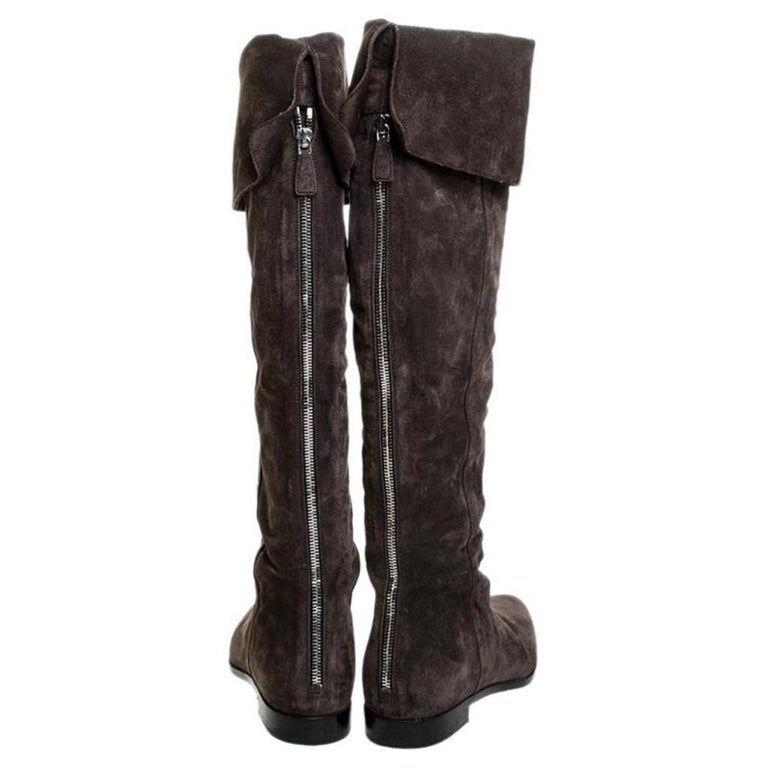 Black Prada Brown Suede Over The Knee Pointed Toe Flat Boots Size 37 For Sale