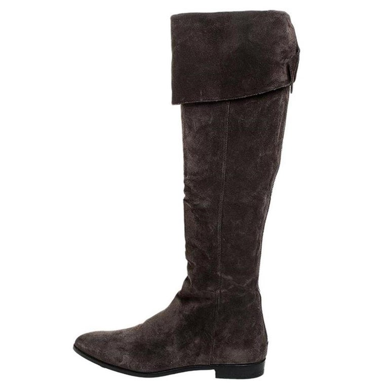 Women's Prada Brown Suede Over The Knee Pointed Toe Flat Boots Size 37 For Sale