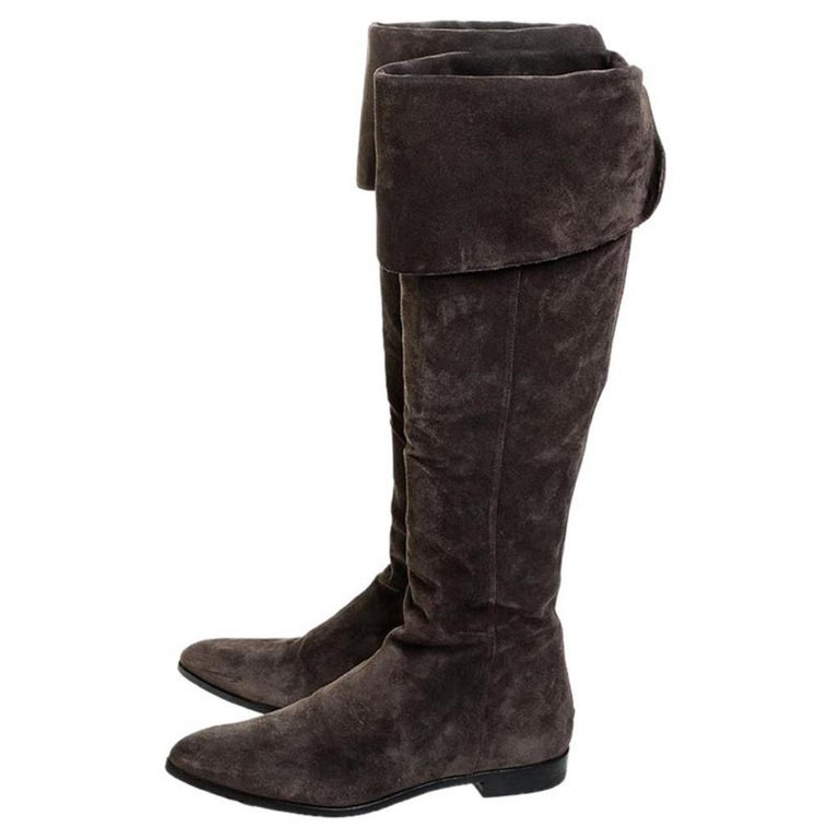 Prada Brown Suede Over The Knee Pointed Toe Flat Boots Size 37 For Sale 1