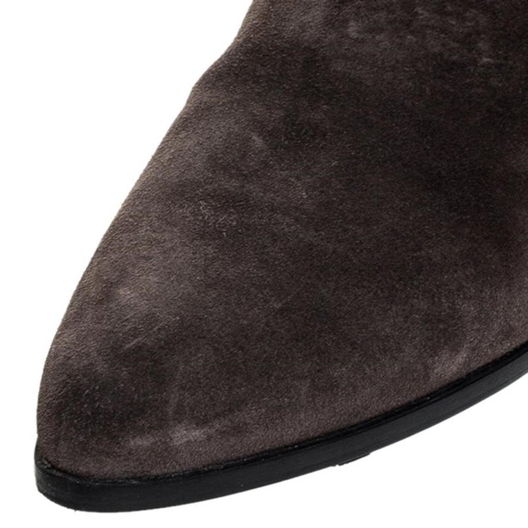 Prada Brown Suede Over The Knee Pointed Toe Flat Boots Size 37 For Sale 2
