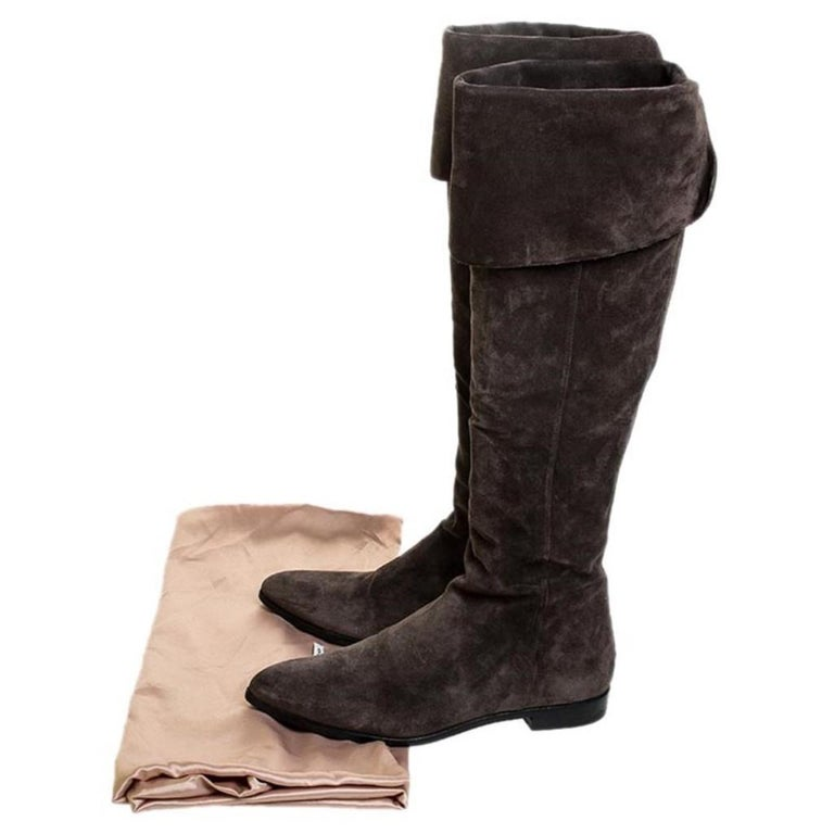 Prada Brown Suede Over The Knee Pointed Toe Flat Boots Size 37 For Sale 3