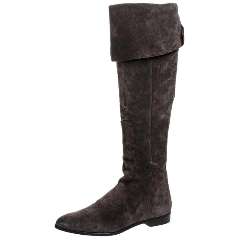 Prada Brown Suede Over The Knee Pointed Toe Flat Boots Size 37 For Sale