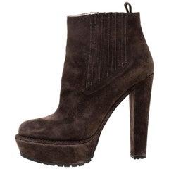 Prada Brown Suede Platform Ankle Boots Size 37