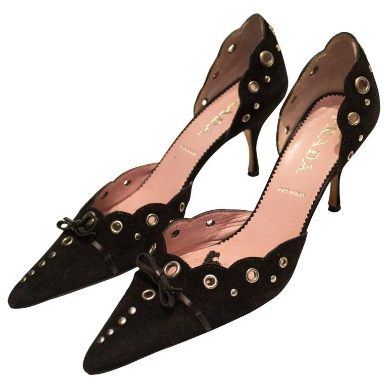 Prada Brown Suede Shoes For Sale