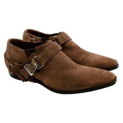 Prada Brown Suede Western Inspired Shoes with Harness - Size 36.5