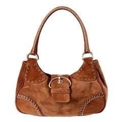 PRADA brown suede WHIPLASH Shoulder Bag
