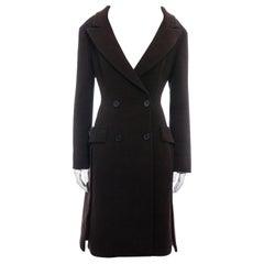 Prada brown virgin wool off-shoulder double breasted coat, fw 2009