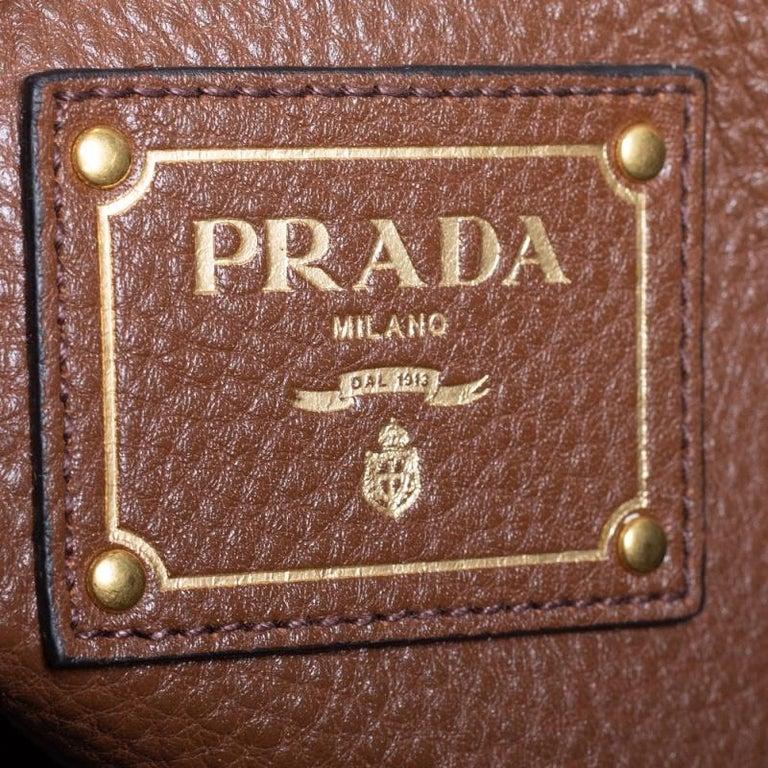 Prada Brown Vitello Daino Leather Shopper Tote For Sale 6