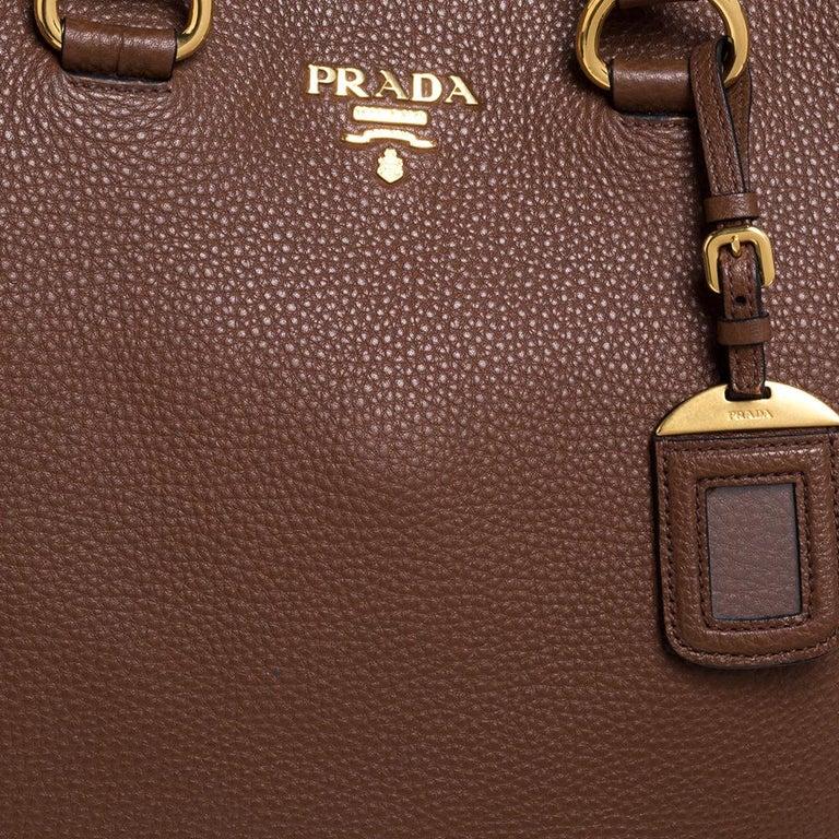 Women's Prada Brown Vitello Daino Leather Shopper Tote For Sale