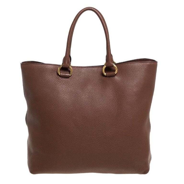 Prada Brown Vitello Daino Leather Shopper Tote For Sale 1