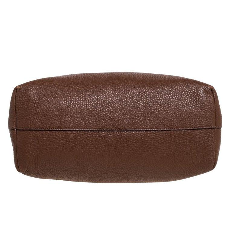Prada Brown Vitello Daino Leather Shopper Tote For Sale 2