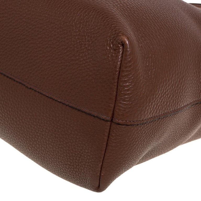 Prada Brown Vitello Daino Leather Shopper Tote For Sale 3