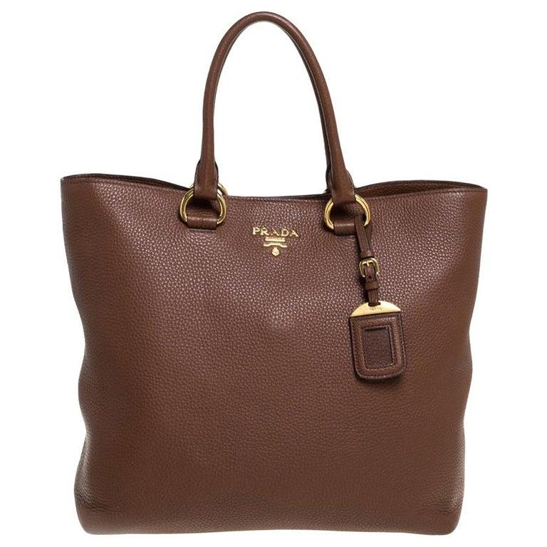 Prada Brown Vitello Daino Leather Shopper Tote For Sale