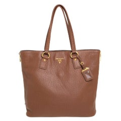 Prada Brown Vitello Daino Leather Side Zip Tote