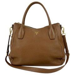 Prada Brown Vitello Daino Leather Tote Shoulder Bag BR4992