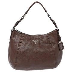 Prada Brown Vitello Daino Leather Zip Top Hobo