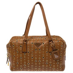 Prada Brown Vitello Diano Leather Grommet Bowler Bag