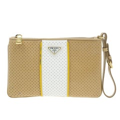 Prada Brown/ White Saffiano Leather Perforated Wristlet Clutch