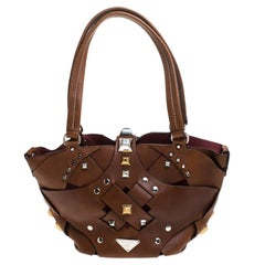 Prada Brown Woven Leather Studded Lattice Tote
