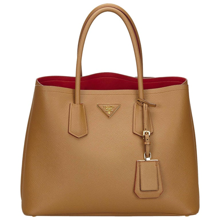 0e621d8b6bf7 Prada Brown x Beige Saffiano Leather Tote Bag at 1stdibs