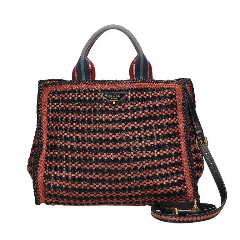 33b22cd6255bcb Prada Brown x Black Madras Tote Bag For Sale at 1stdibs