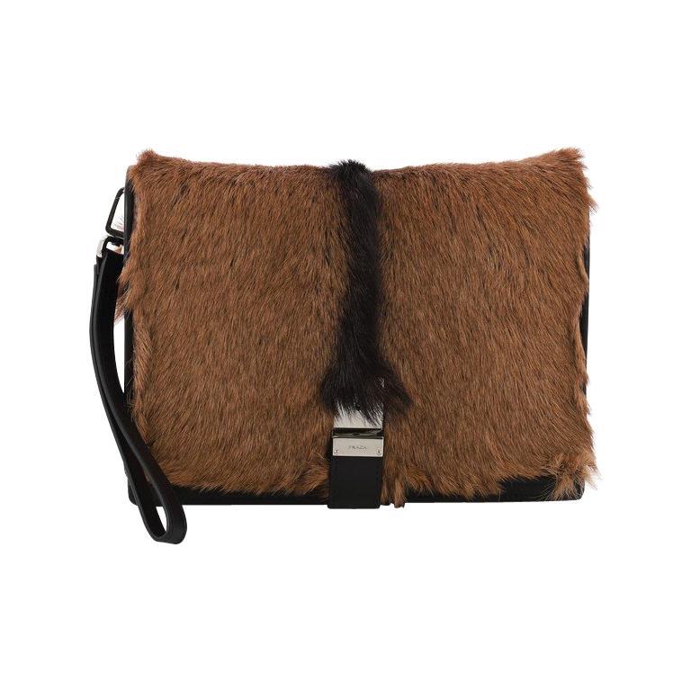 3b09552fff02 Prada Buckle Flap Messenger Bag Goat Fur Small For Sale at 1stdibs