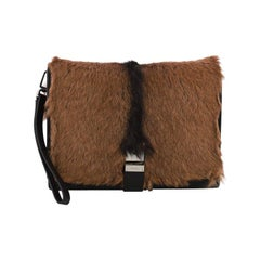 Prada Buckle Flap Messenger Bag Goat Fur Small