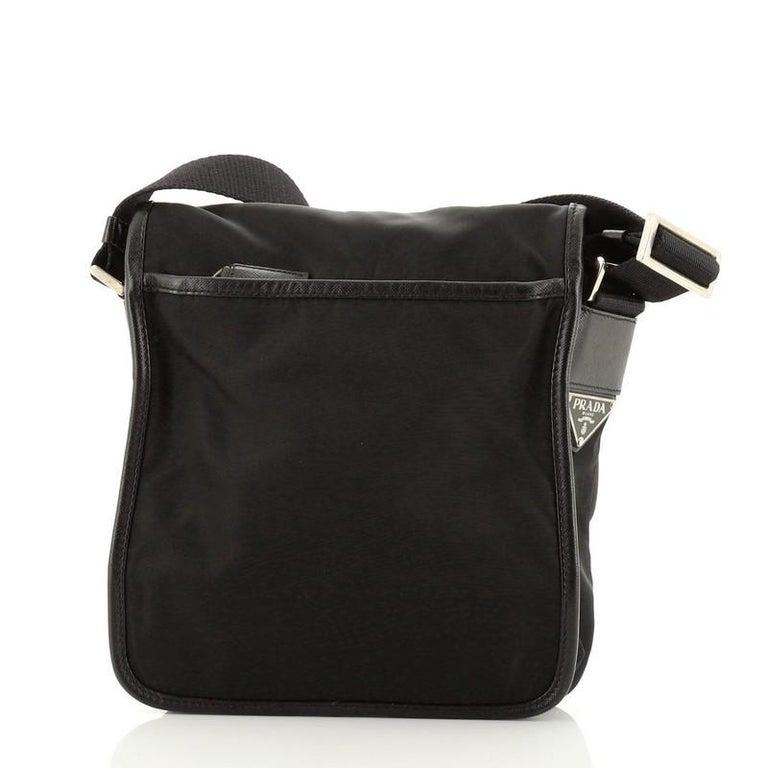 Black Prada Buckle Messenger Bag Tessuto Small For Sale