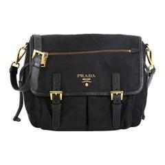 Prada Buckle Messenger Bag Tessuto Small