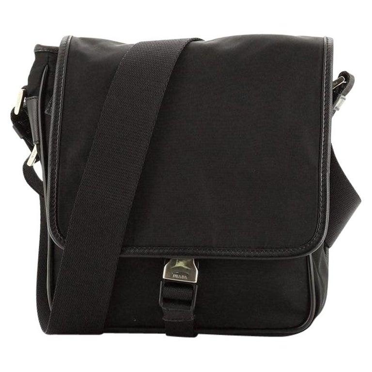 Prada Buckle Messenger Bag Tessuto Small For Sale