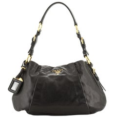 Prada Buckle Pleated Shoulder Bag Soft Calfskin Large