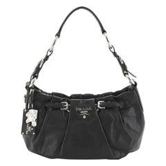 Prada Buckle Pleated Shoulder Bag Soft Calfskin Small