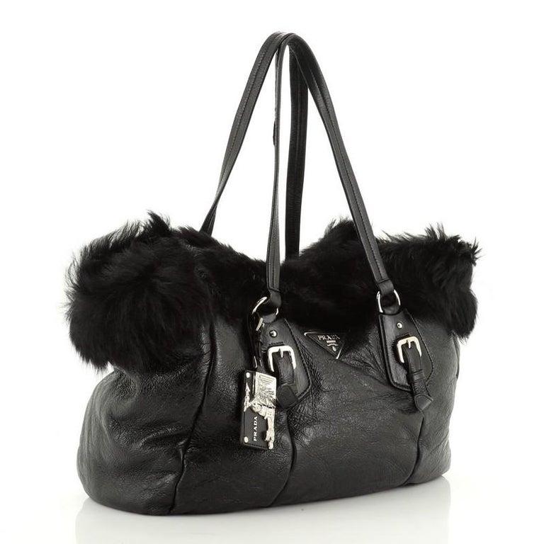 Black Prada Buckle Tote Leather And Fur Medium For Sale